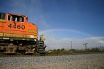 BNSF 4460 sits under the rainbow